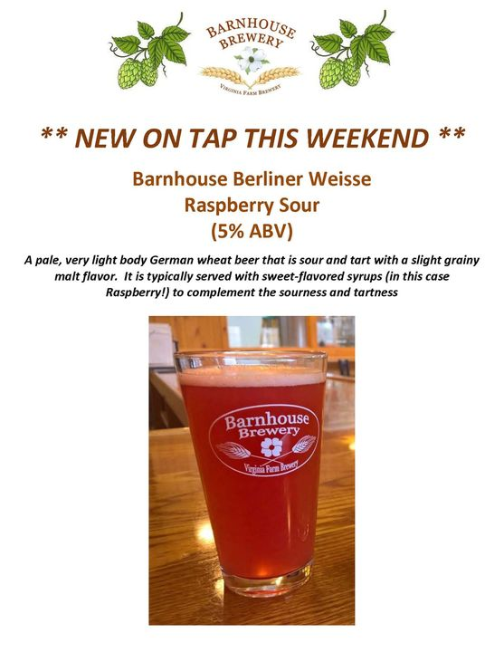 Berliner Weisse Raspberry Sour on tap starting today!