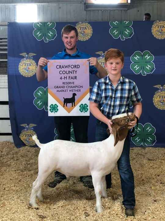 Congratulations to Jacob Meese with his Reserve Grand Champion Wether at the Crawford County 4-H Fair.  JacobWas also Gr...